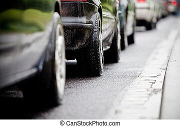 trafik, motorväg, caus, marmelad, översväm