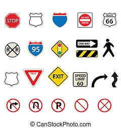 trafik, väg signerar
