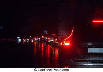 trafik, väg, våt