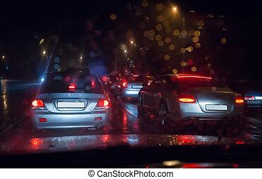 trafik, våt, väg