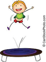 trampolin, unge