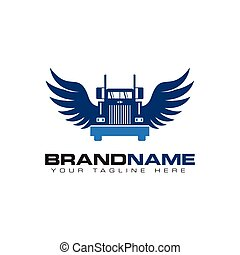 transport, design, mall, logo, lastbil, vinge