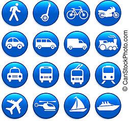 transport, elementara, design, ikonen