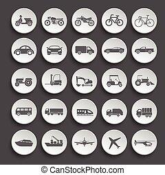 transport, ikon, set., vektor