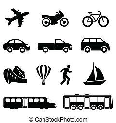 transport, svart, ikonen