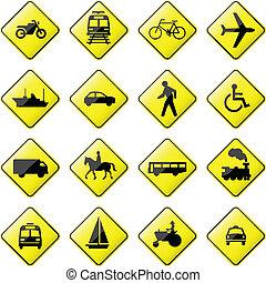 transport, underteckna, väg