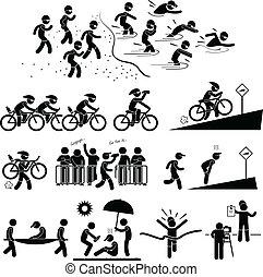 triathlon, maraton, pictogram