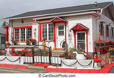 trimma, hus, alltigenom, röd, förtjusande