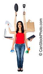 trist, multitasking, kvinna