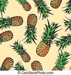 tropisk, mönster, ananas, seamless, vektor