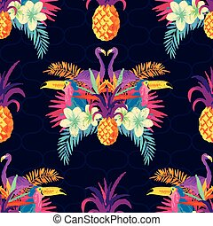 tropisk, mönster, levande, seamless