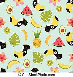 tropisk, mönster, tukan, frukter