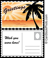 tropisk, vykort, landskap
