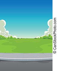 trottoar, parkera, bakgrund, grön