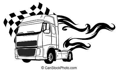 truck., tecknad film, design, halv-, vektor, illustration