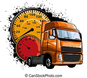 truck., vektor, amerikan flagga, illustration, klassisk