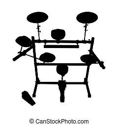 trumma sätta, silhuett