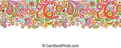 tryck, dekorativ, färgrika blomstrar, seamless, abstrakt, gräns