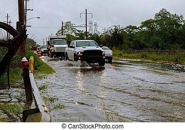 tung, översväm, bil, regna, trafik, väg