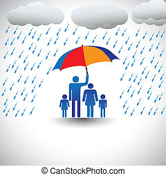 tung, representerar, umbrella., paraply, färgrik, familj, &, kärlek, grafisk, fader, regna, omfattar, fru, children(concept, hans, etc), holdingen, omsorgen, beskyddande, täcke