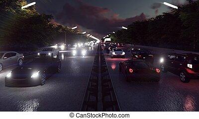 tung, stad tänder, bilar, framförande, traffic., natt, gå, billyktor, night., 3