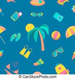 turism, resa, pattern., seamless, vektor, bakgrund, strand
