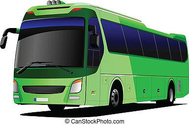 turist, vektor, grön, illinois, bus., coach.