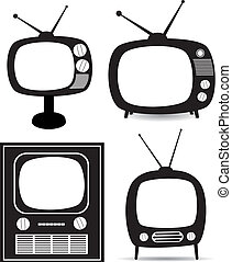 tv, vektor, sätta, retro