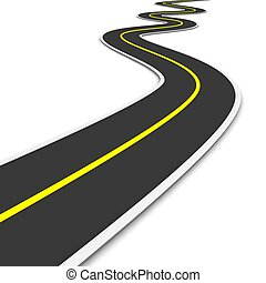 twisty, 3, återgäldat, illustration., road.