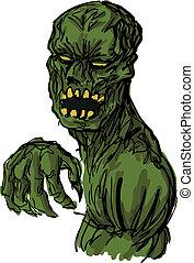 undead, zombie, illustration, skrämmande