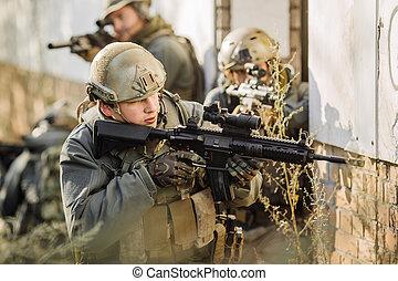 under, gevär, avpatrullering, krig, tjäna som soldat