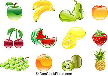 underbar, sätta, glänsande, frukt, ikon