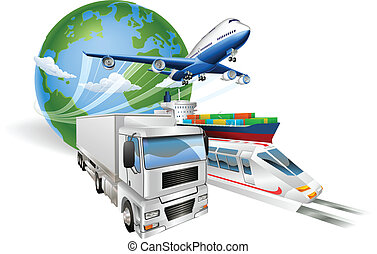underhållstjänst, begrepp, global, tåg, lastbil, airplane, skepp
