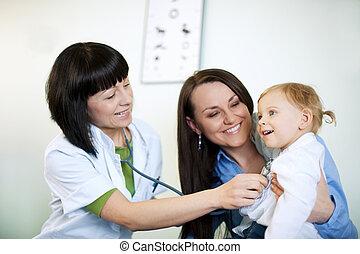 undersöka, läkare, barn