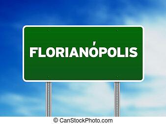 underteckna, florianópolis, väg, -, brasilien, grön