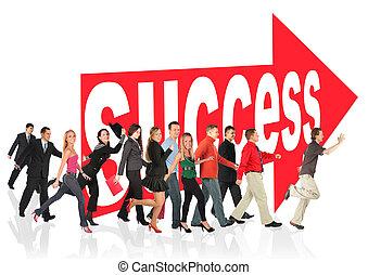 underteckna, folk affär, themed, framgång, collage, springa, följande, pil