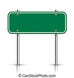 underteckna, vektor, grön, tom, trafik, väg, 3