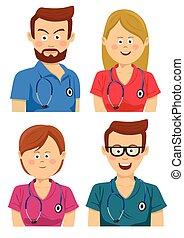 ung, arbetare, avatars, flerfärgad, skura, sjukhus