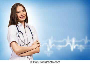 ung, kvinna läkare