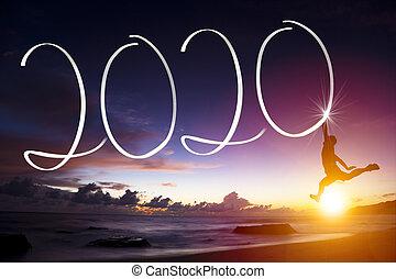 ung, strand., begreppen, 2020, år, man, lycklig, färsk, hoppning