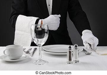 uppassare, bord, middag sätta, formell
