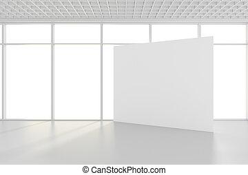 uppe, rum, stor, fönstren, framförande, tom, tom, affischtavla, vit, driva med, 3