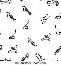 upphovsman, utrustning, vektor, mönster, seamless, gräsmatta