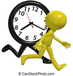 upptaget, springa, klocka, person, kapplöpning tajma, brådska, dag
