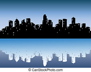 urban, skylines, reflexion