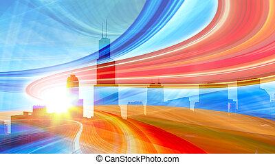 urban, trails., färgrik, stad lätta, abstrakt, nymodig, i centrum, illustration, rörelse, gå, hastighet, motorväg