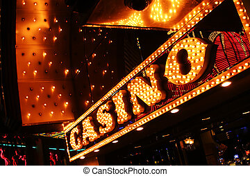 usa., vegas, skylt., kasino, neon, nevada, las