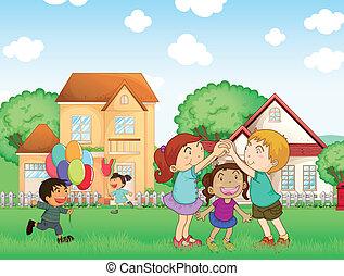 utanför, barn spela