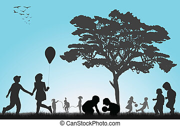 utanför, leka, silhouettes, barn