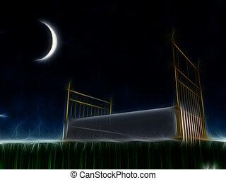 utanför, säng, stjärnor, under